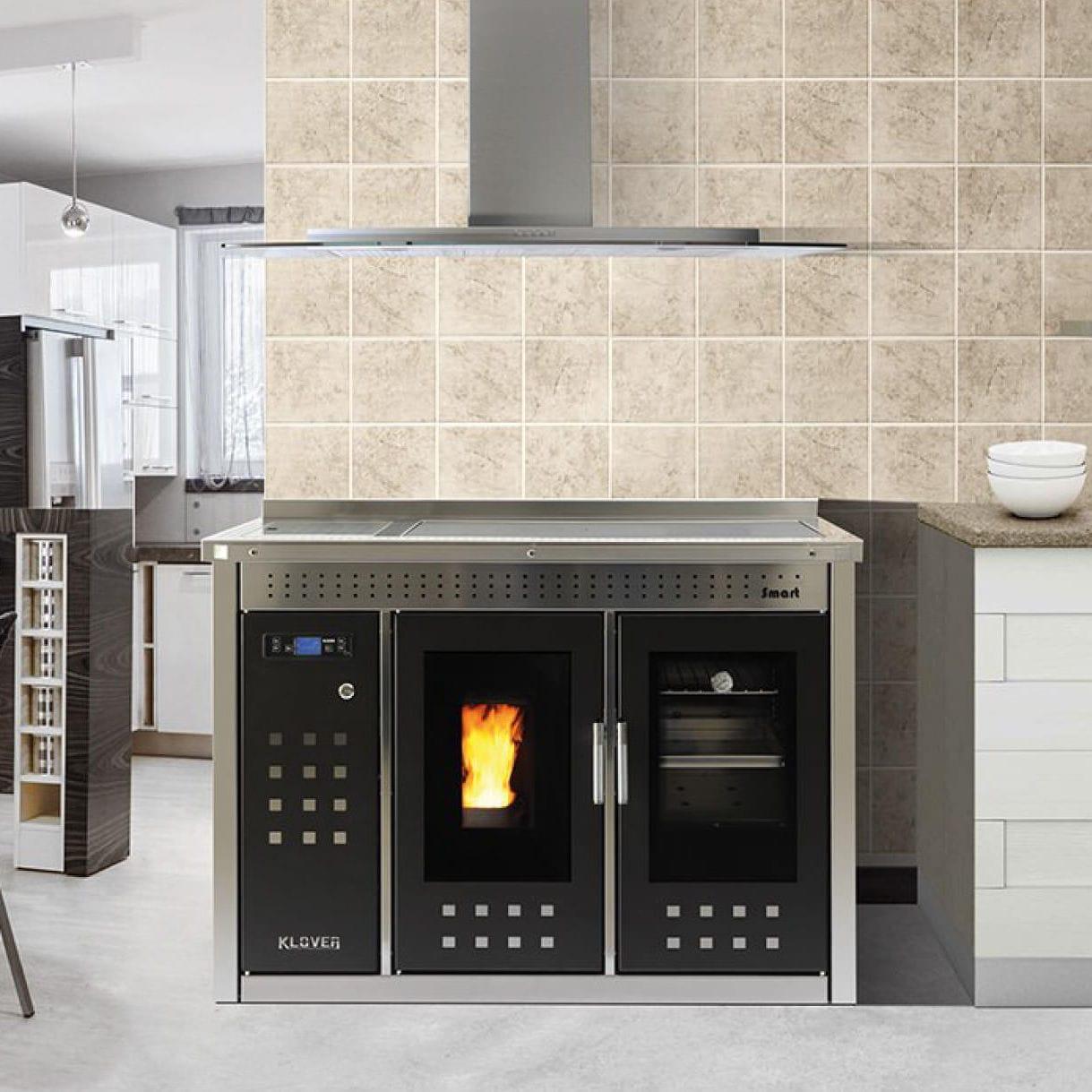 Blocco cucina a pellet / in acciaio inox / per caldaia / in ceramica ...