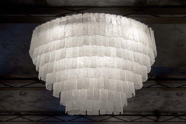 Lampadario vintage in vetro di murano led fatto a mano ice