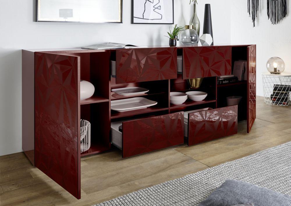 Credenza Moderna Rossa : Credenza moderna in legno laccato bianca rossa prisma lc spa