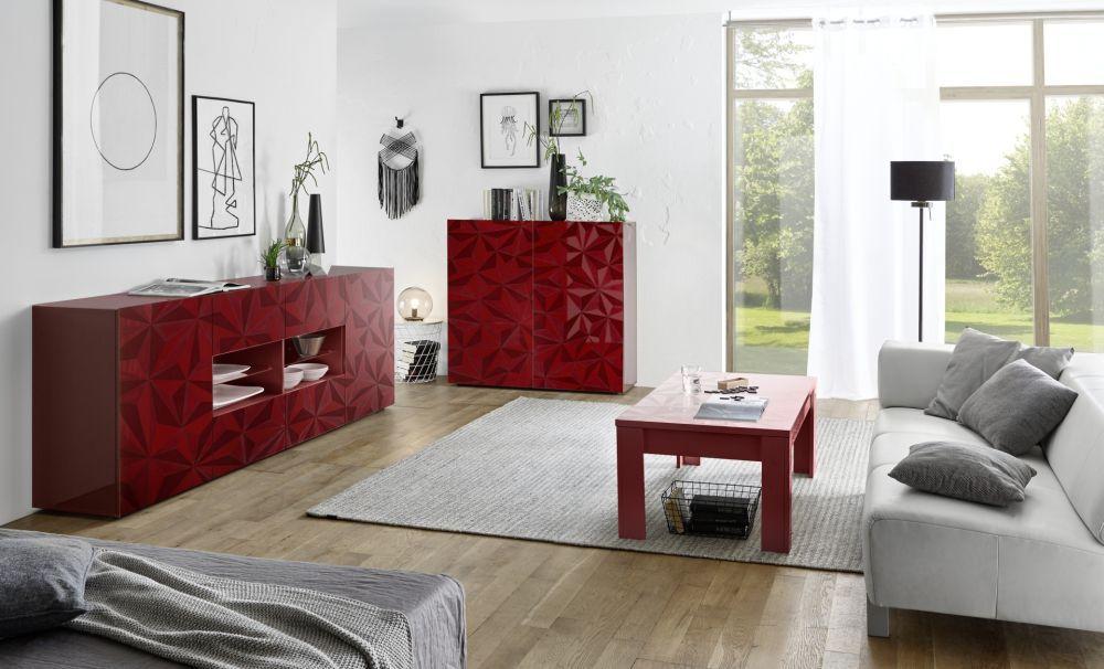 Credenza moderna in legno laccato bianca rossa prisma lc spa