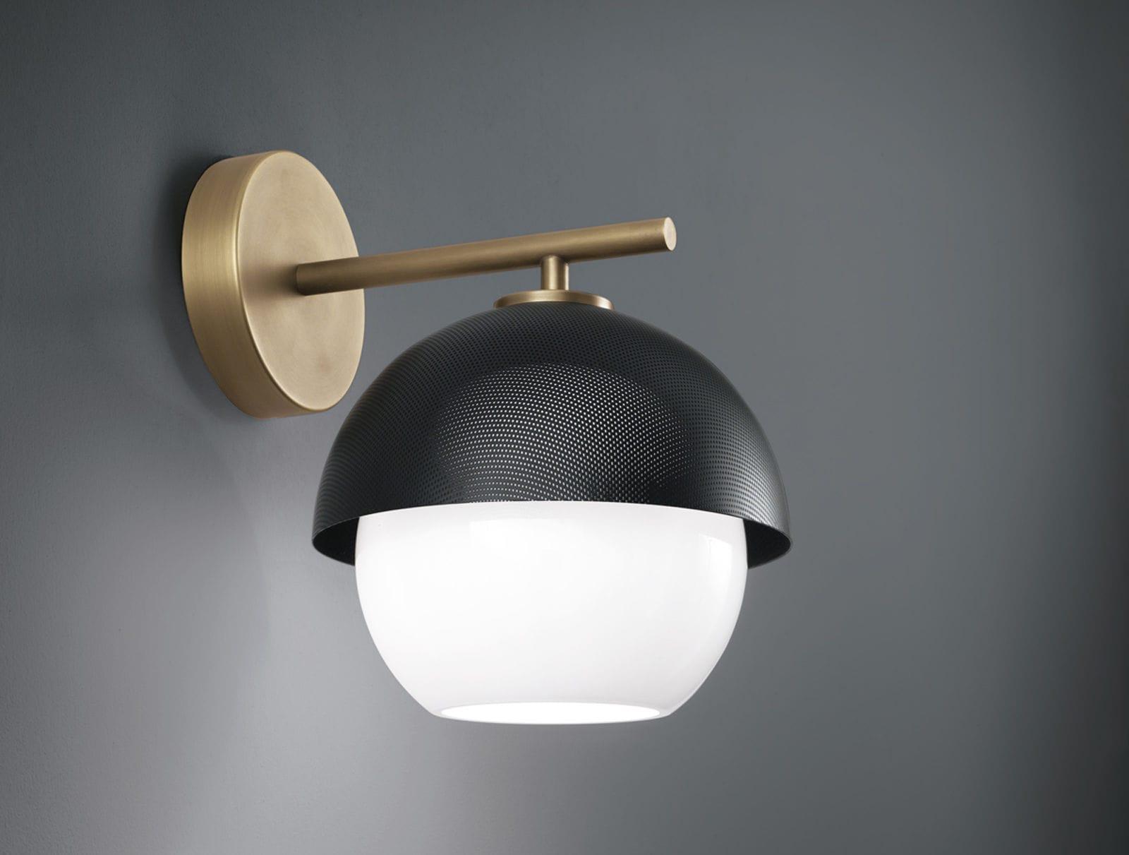 Applique moderna in ottone in vetro soffiato led urban by