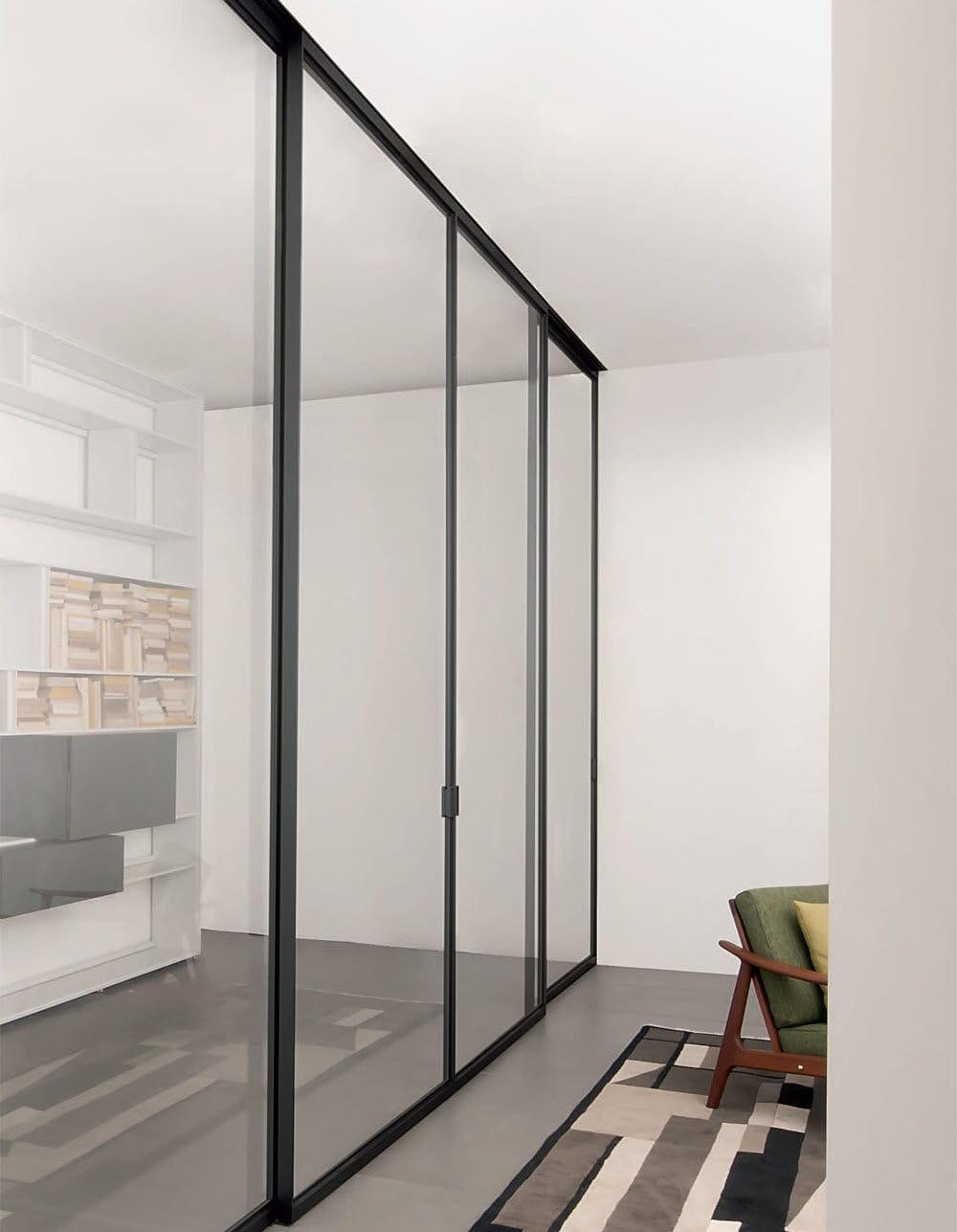 Porta da interni / scorrevole / in alluminio / vetrata - QUADRA ...