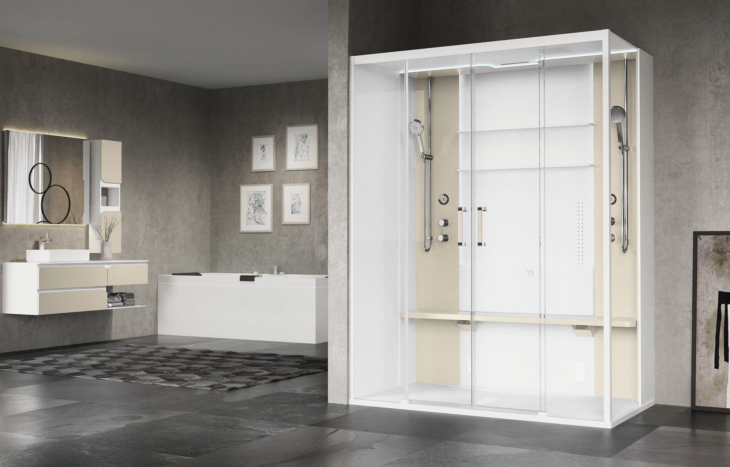 Box doccia multifunzione a vapore con idromassaggio in vetro