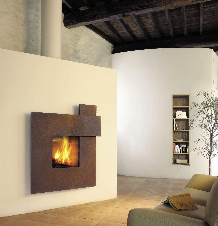 Camino a legna / moderno / design originale / con focolare chiuso ...