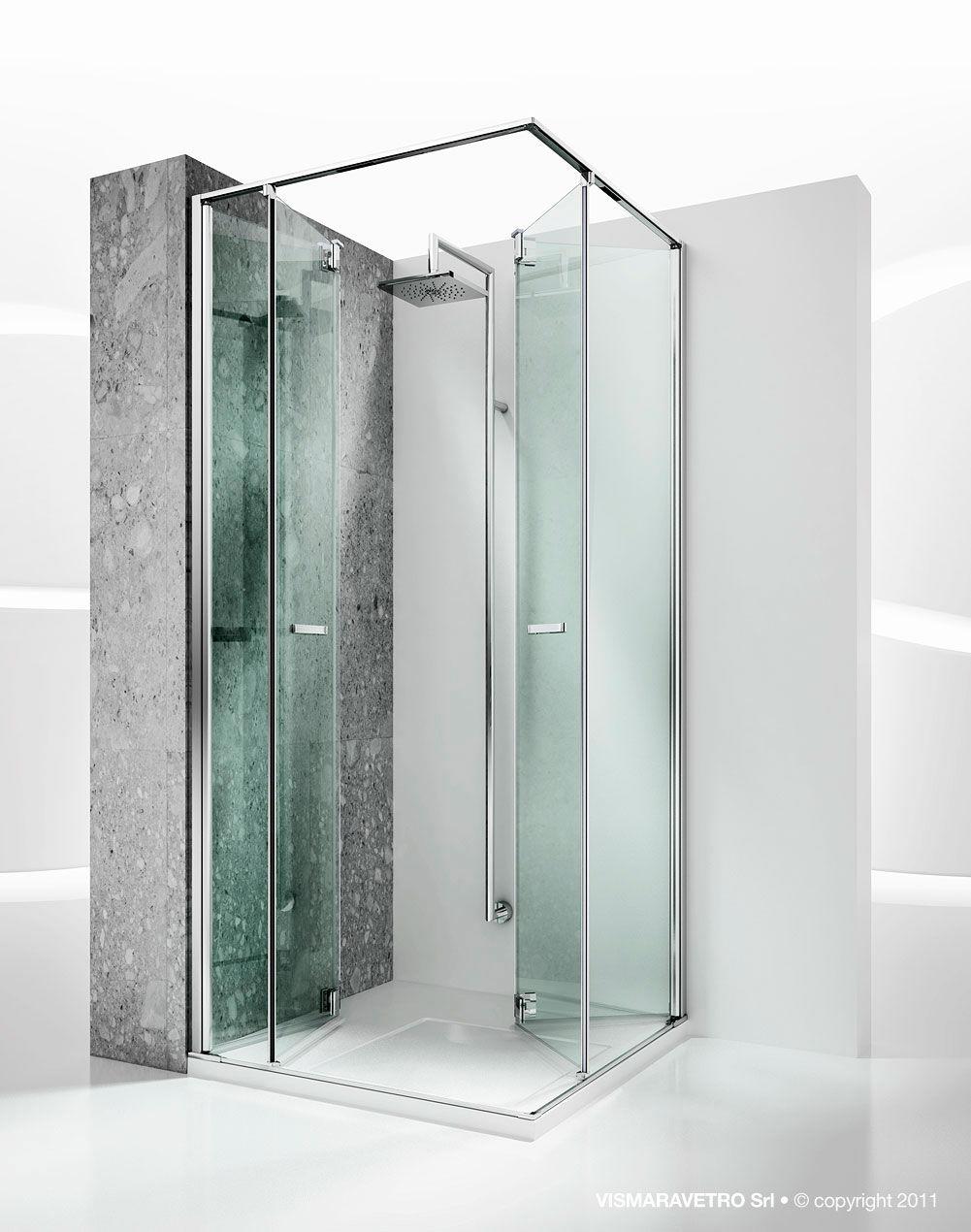 Box doccia in vetro / d'angolo / con porta pieghevole   replay: ra ...