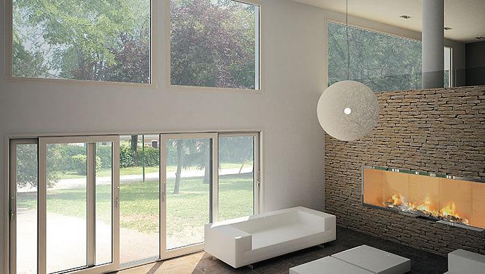 Vetrata scorrevole / in legno / in alluminio / a doppi vetri ...