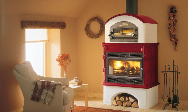 Stufa a legna / tradizionale / in maiolica / con forno - INGRID ...