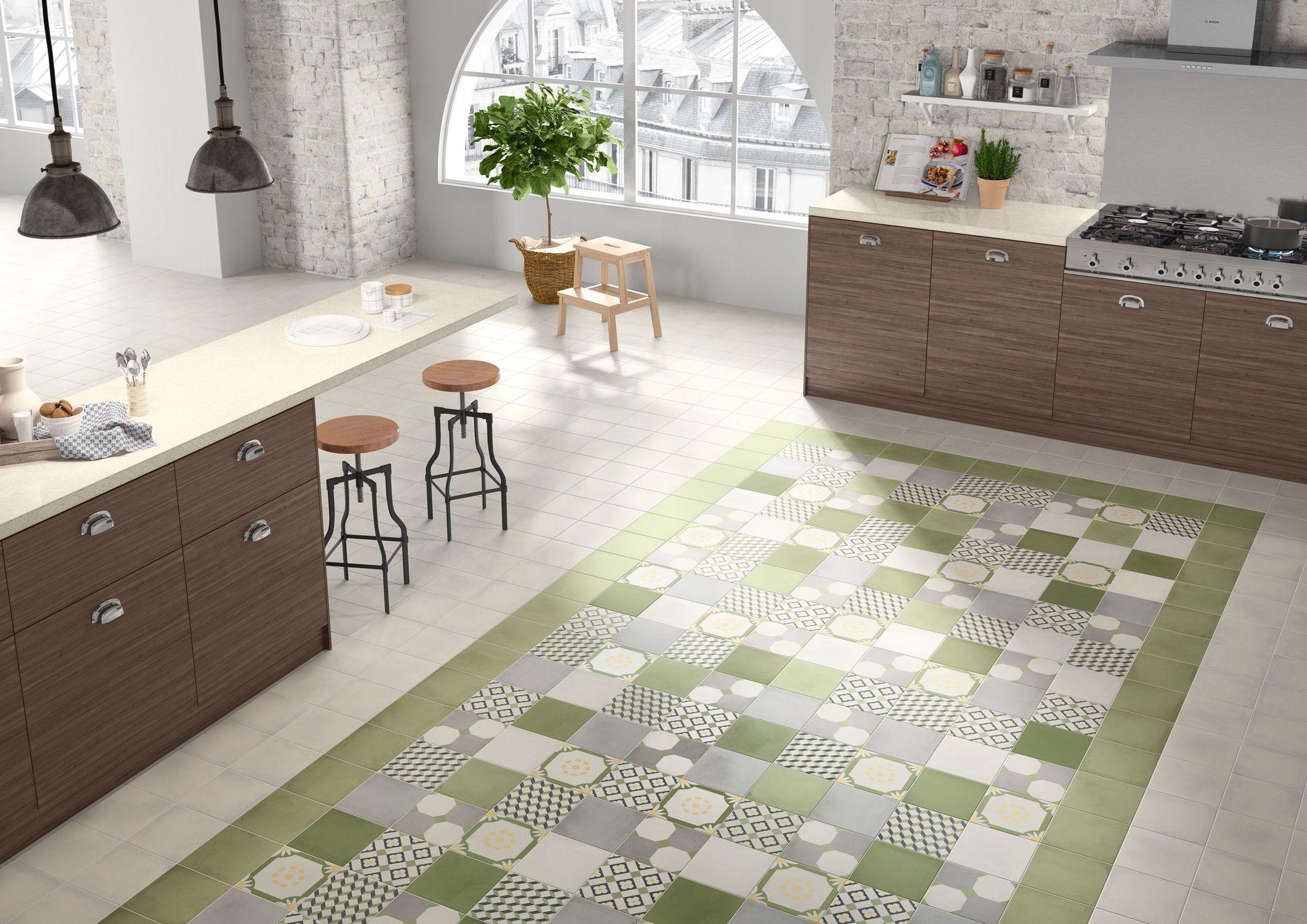 Piastrella da cucina da pavimento in gres porcellanato motivo