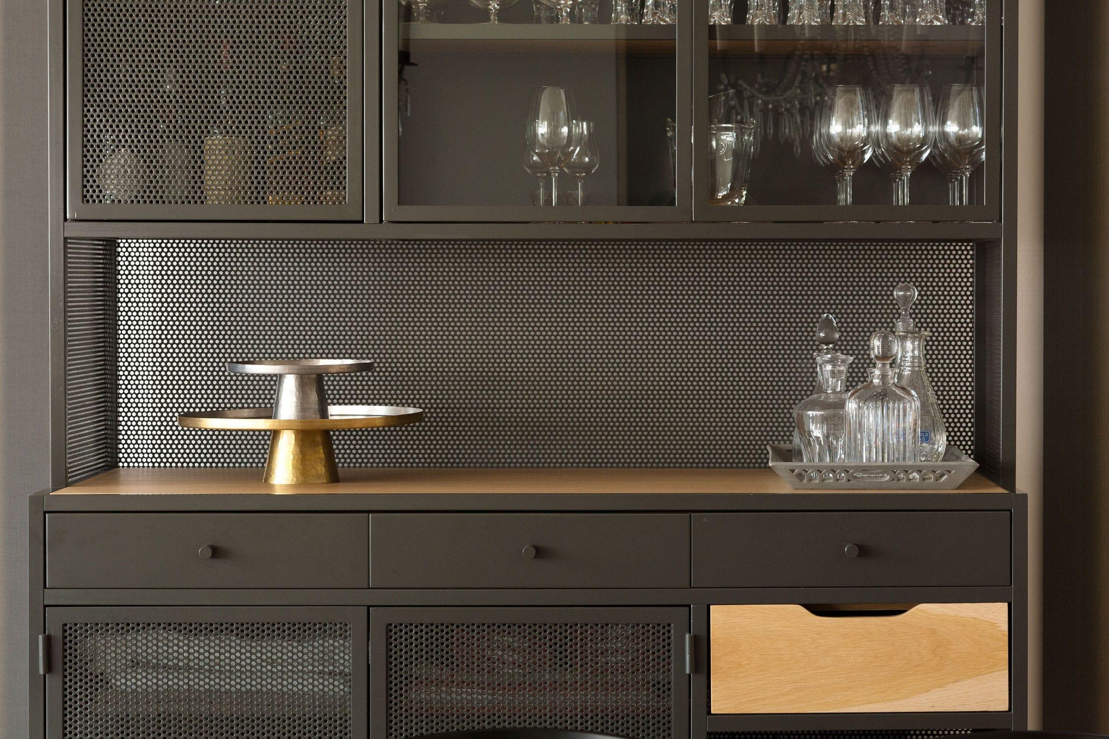 Credenza Moderna Con Alzata : Credenza con alzata moderna in legno vetro metallo