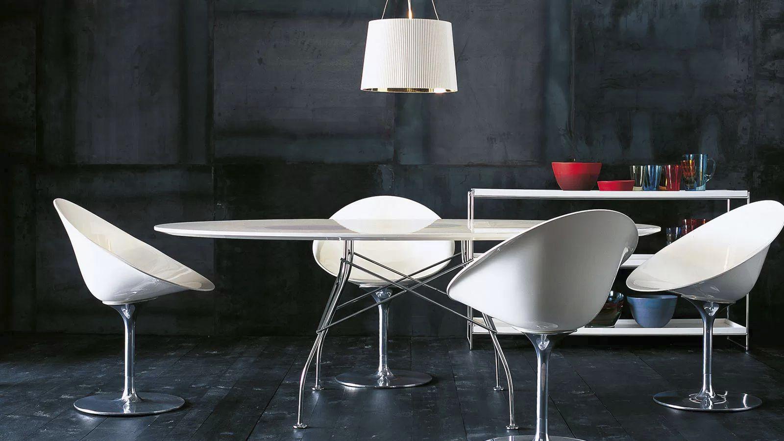 Tavolo moderno in mdf in acciaio in laminato glossy