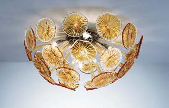 Plafoniera Moderna Vetro Murano : Acquista plafoniere in vetro soffiato trasparente chiaro