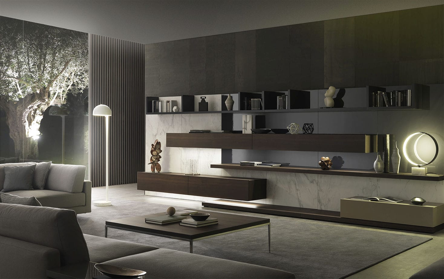 Parete attrezzata per soggiorno moderna / in legno laccato / di ...