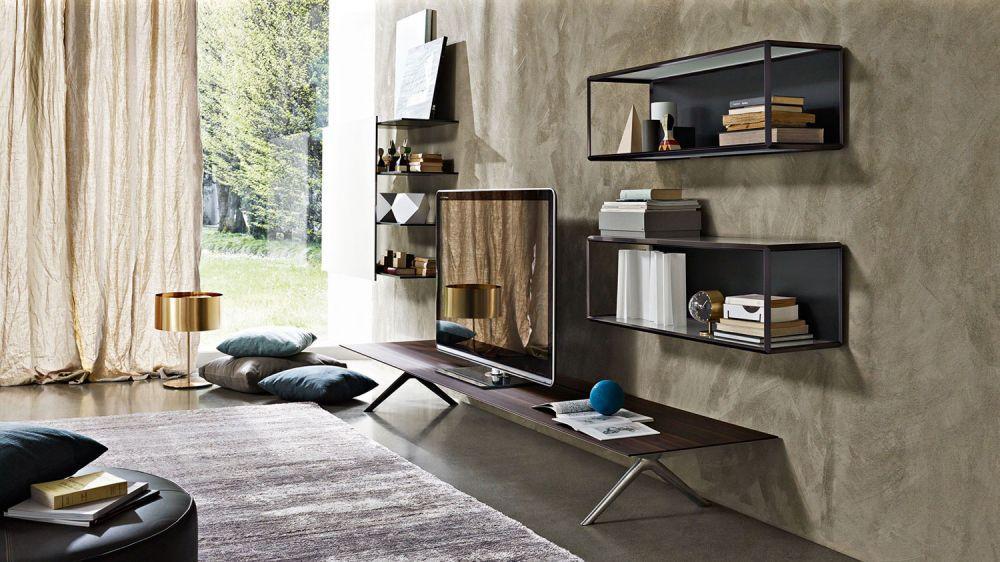 Parete attrezzata per soggiorno moderna / in legno / in vetro / in ...