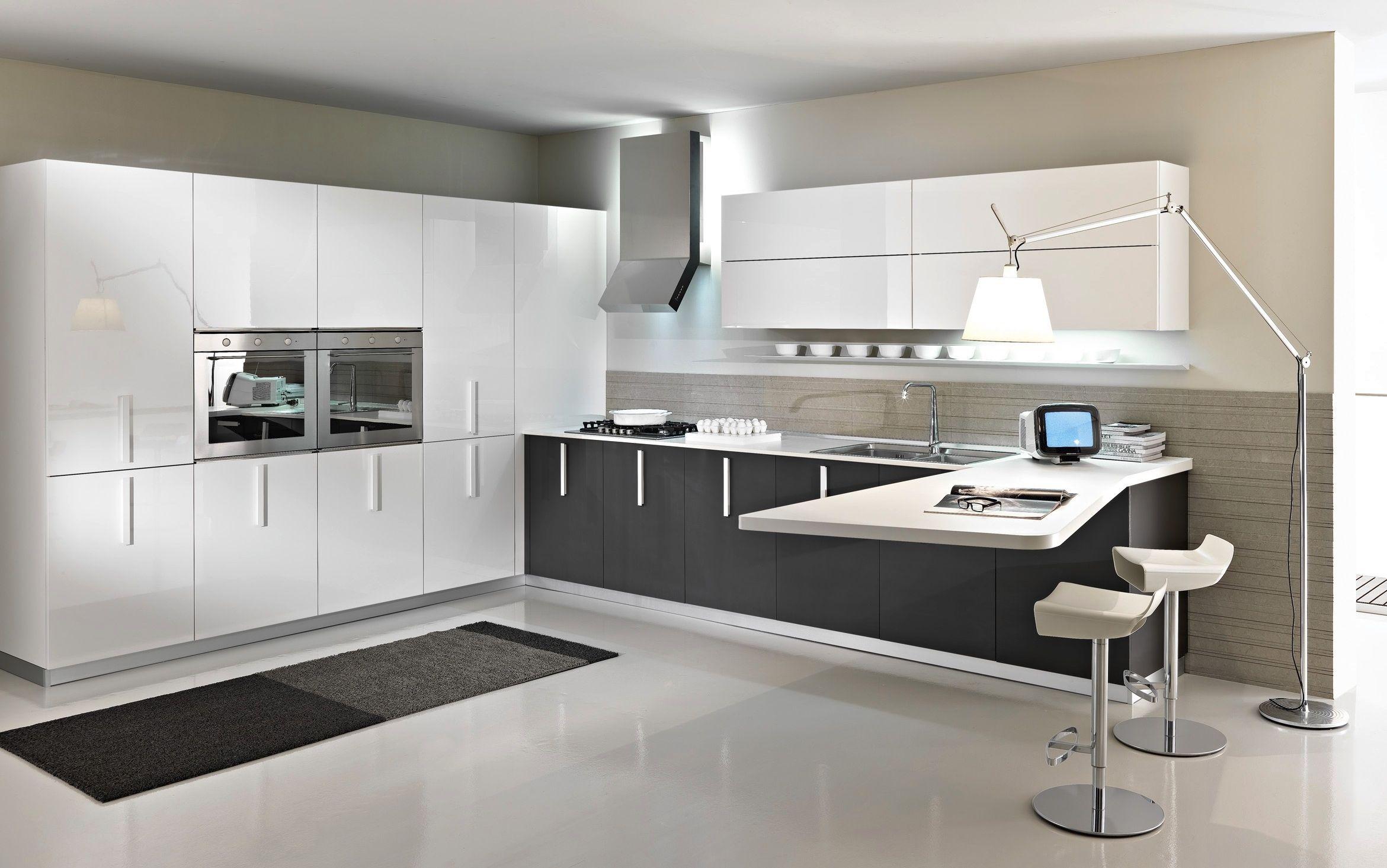 Cucina moderna / in melamminico / con impugnature - MAGIKA - Pedini