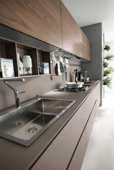 Cucina moderna / in vetro / impiallacciata in legno - SYSTEM ...