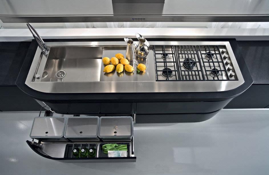 Pattumiera da cucina / da incasso / in acciaio inox / moderna - Pedini