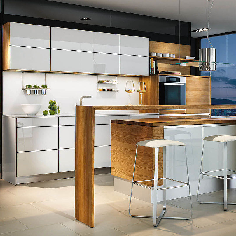 Cucina moderna / in vetro / in acero / in ciliegio - LINEE by ...