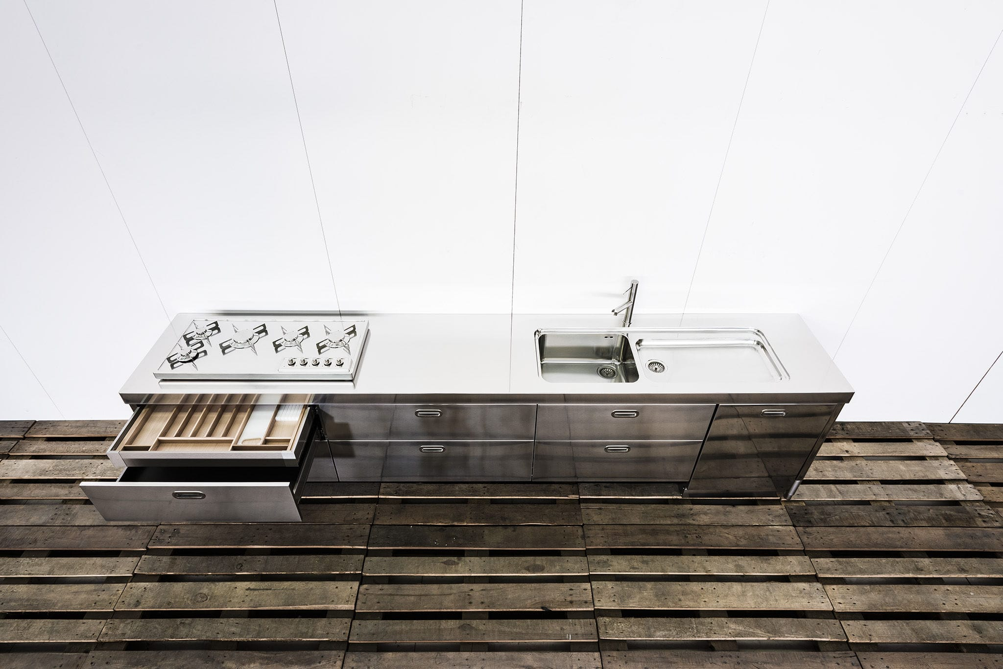 Cucina moderna / in acciaio inox - CUSTOM 370 - ALPES-INOX