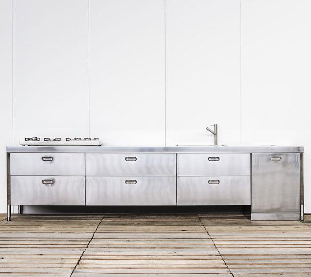 Cucina moderna / in acciaio inox / con maniglia integrata - CUSTOM ...