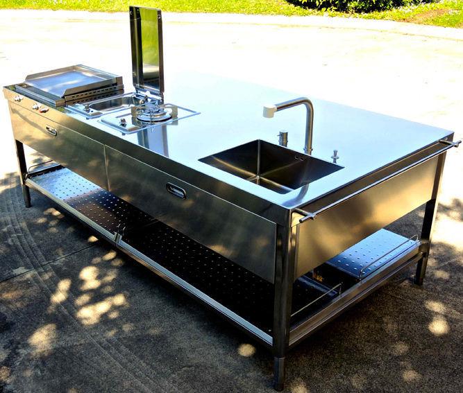 Cucina moderna / in acciaio inox / con isola / da esterno - UNIT ...