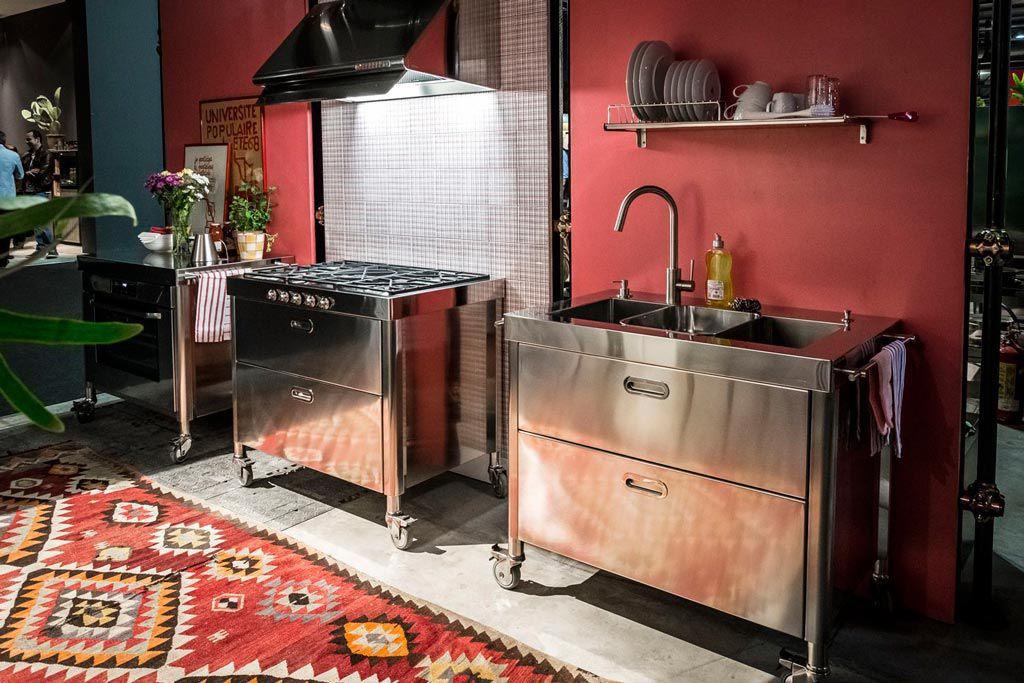 Blocco cucina a gas in ghisa in acciaio inox con grill
