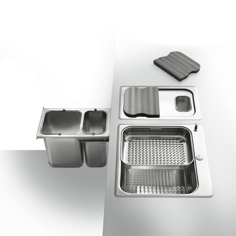 Pattumiera da cucina / da incasso / in acciaio inox / moderna - F ...