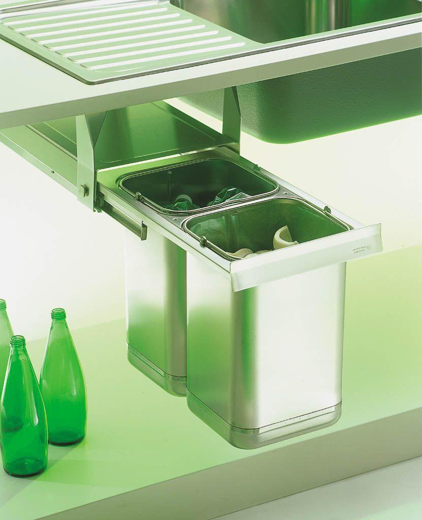 pattumiera da cucina da incasso in acciaio inox per raccolta differenziata