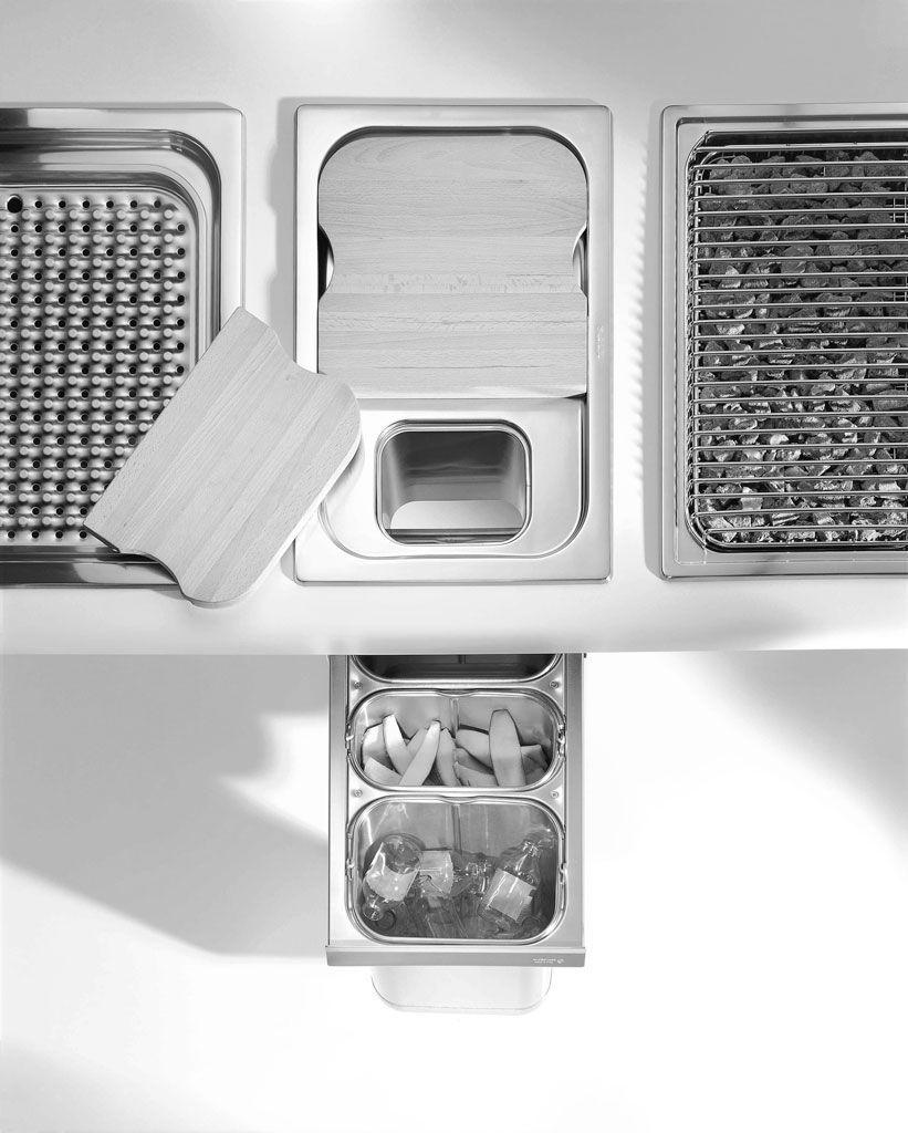 Pattumiera da cucina / da incasso / in acciaio inox / per raccolta ...