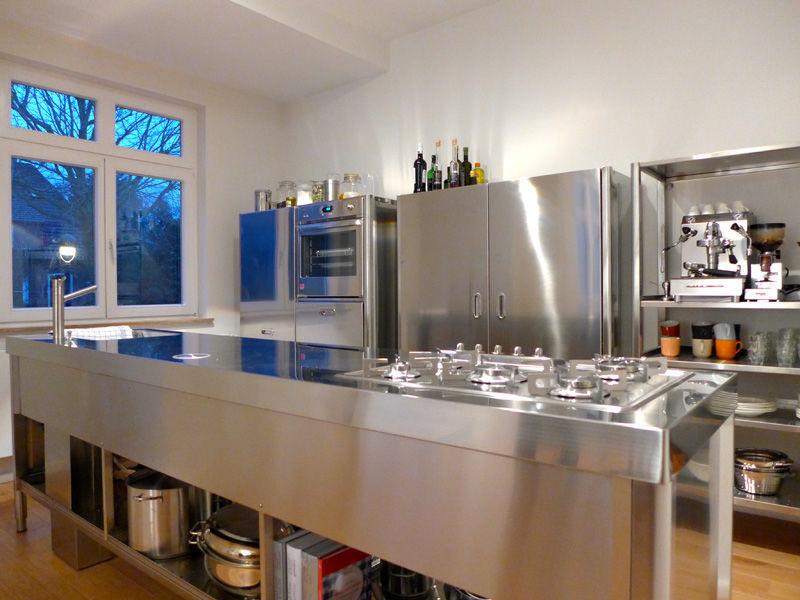 Cucina moderna / in acciaio inox / con isola - 70X320 - ALPES-INOX