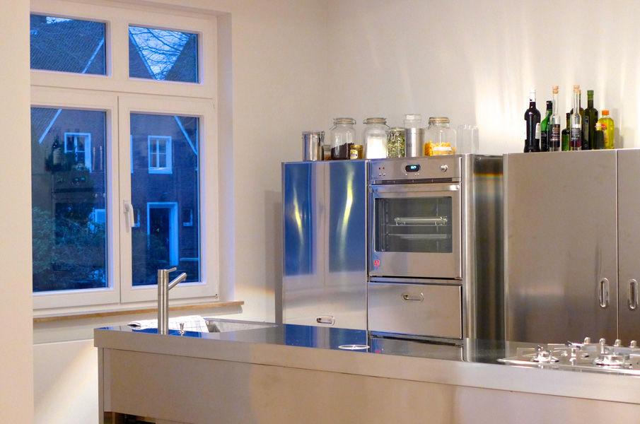 Cucina moderna / in acciaio inox / con isola   70x320   alpes inox
