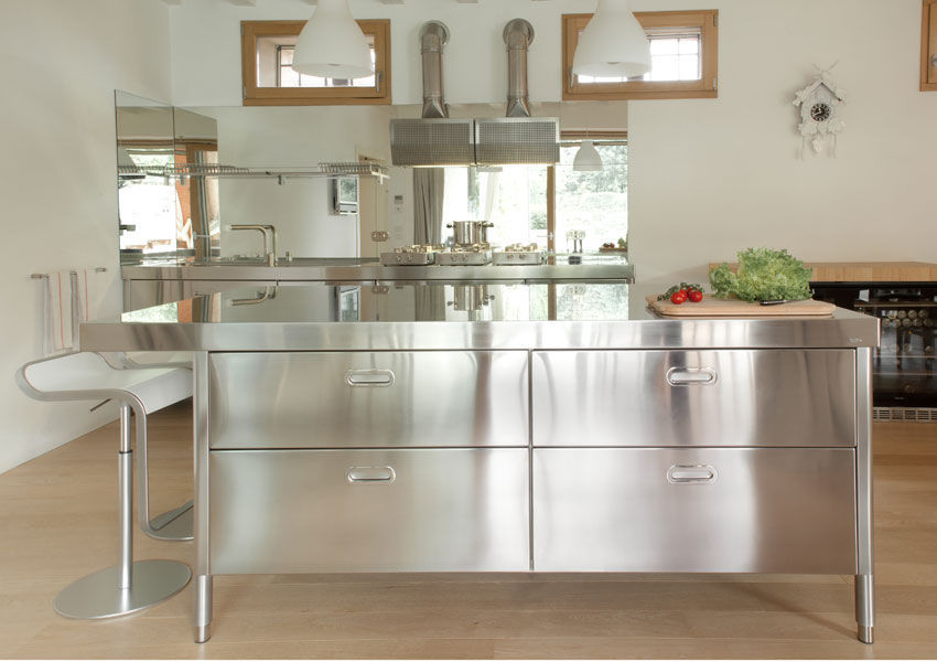 Cucina moderna / in acciaio inox / con isola - 190-220 WITH SNACK ...