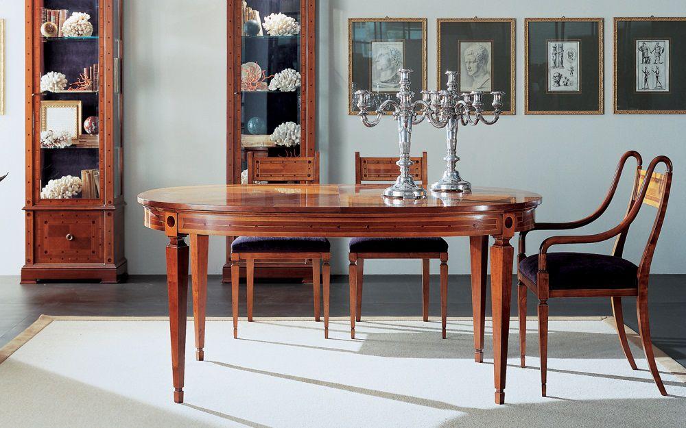 Tavolo da pranzo classico in ciliegio ovale allungabile