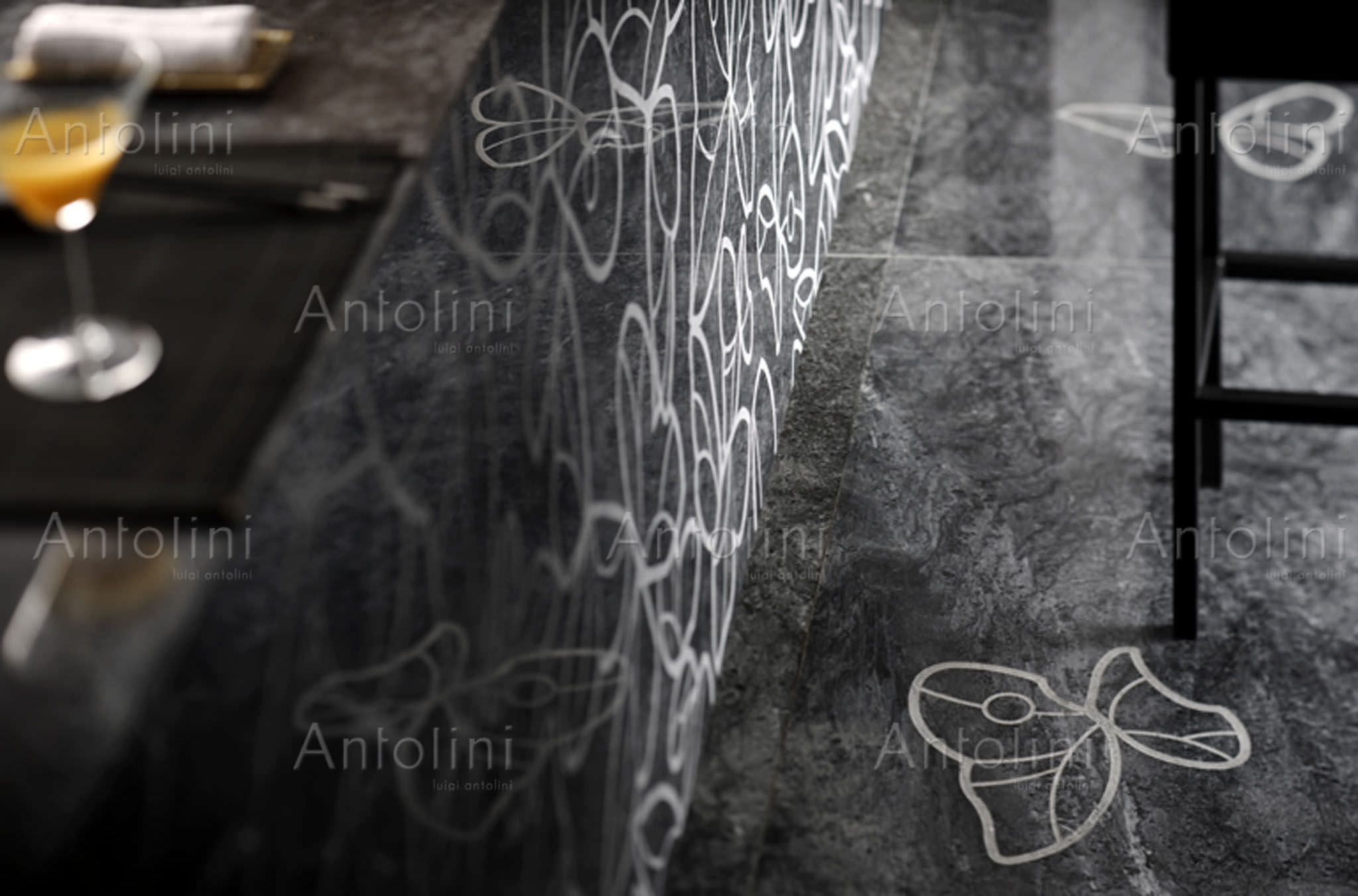 Piastrella da interno da parete in cemento con motivo con