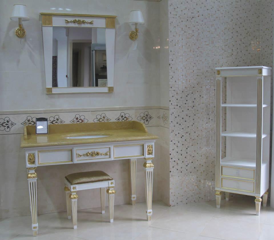 Mobile lavabo da appoggio / in legno / in stile / con specchio ...