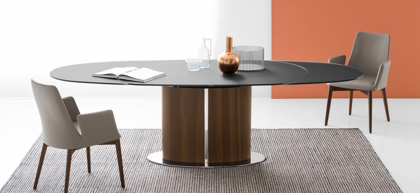Tavolo da pranzo moderno / in vetro temprato / in metallo / ovale ...