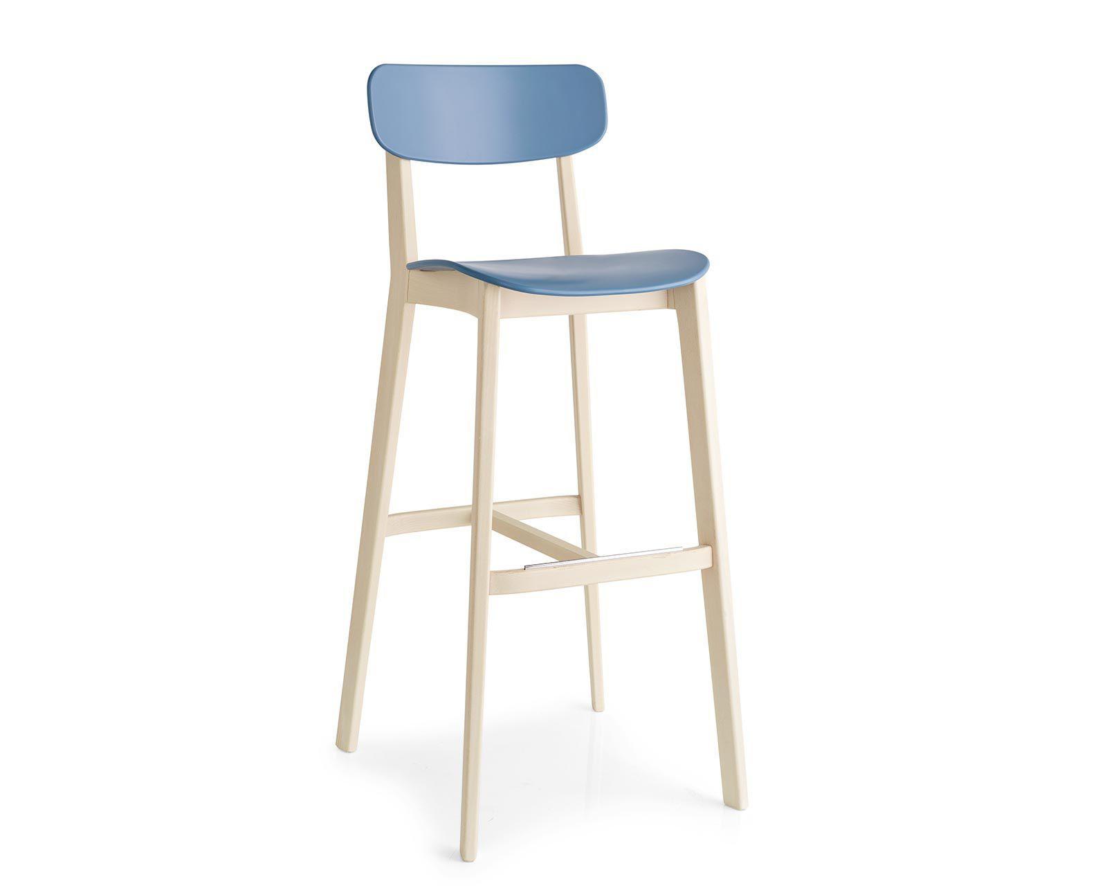 Sedia alta moderna con poggiapiedi in legno in polipropilene