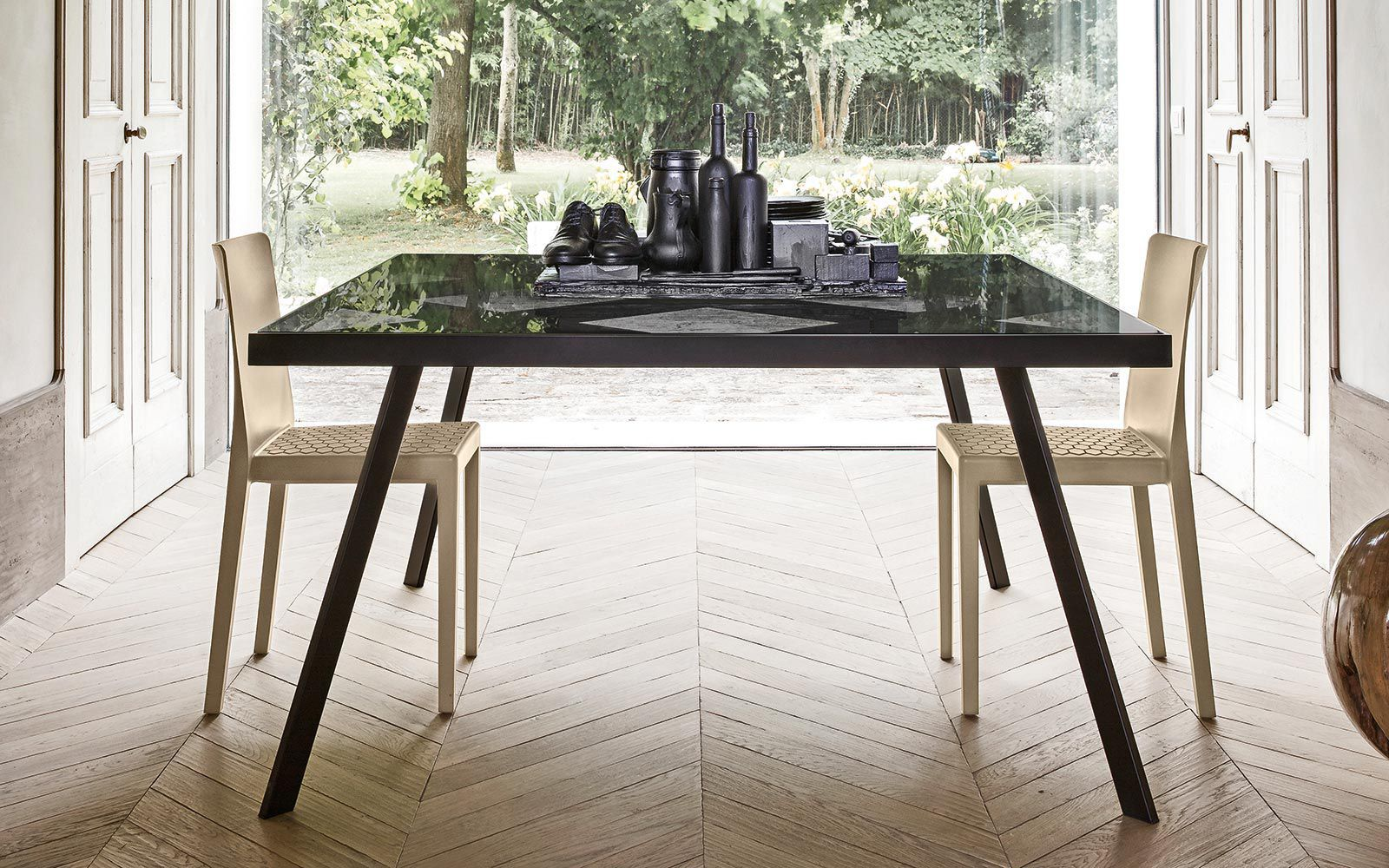 Tavolo da pranzo moderno / in vetro / in metallo / rettangolare ...