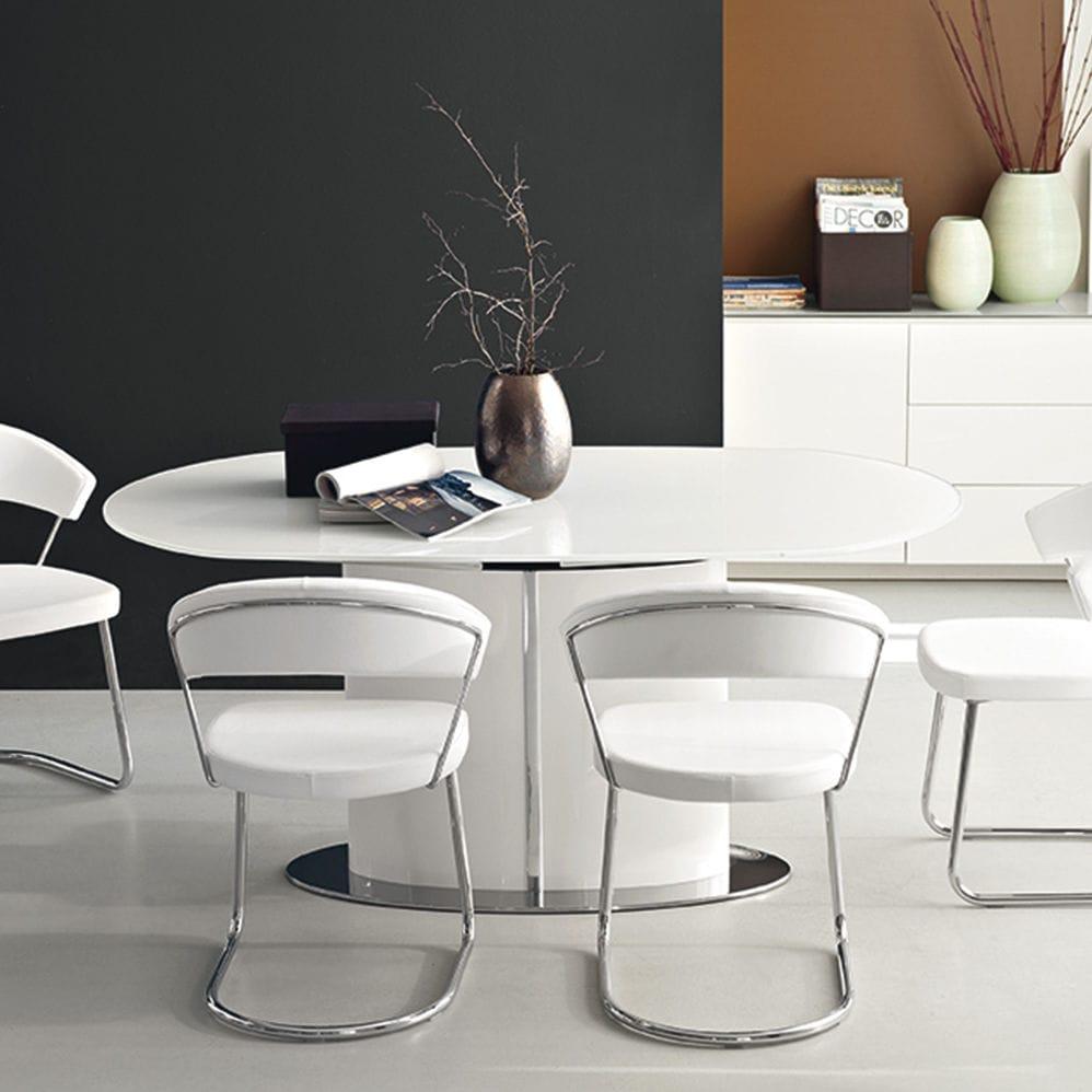 Tavolo da pranzo moderno / in vetro temprato / ovale / allungabile ...