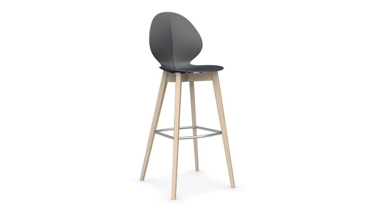 Sedia alta moderna / imbottita / in pelle / in legno - BASIL W by ...