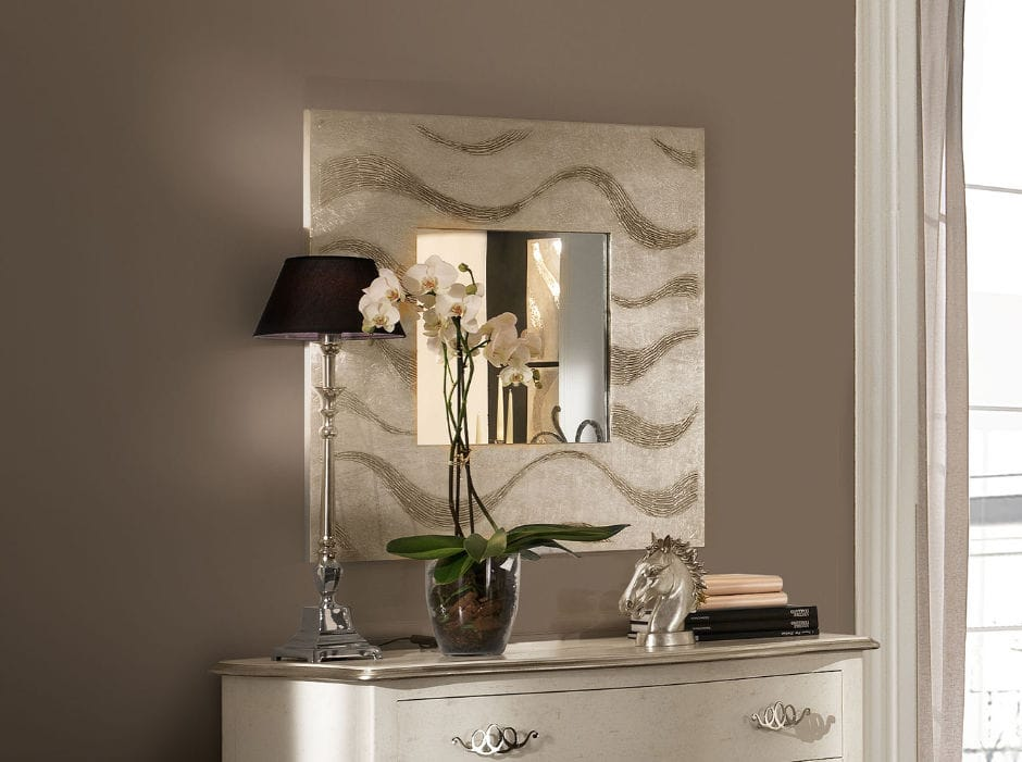 Specchio a muro moderno quadrato argentato africa flowing
