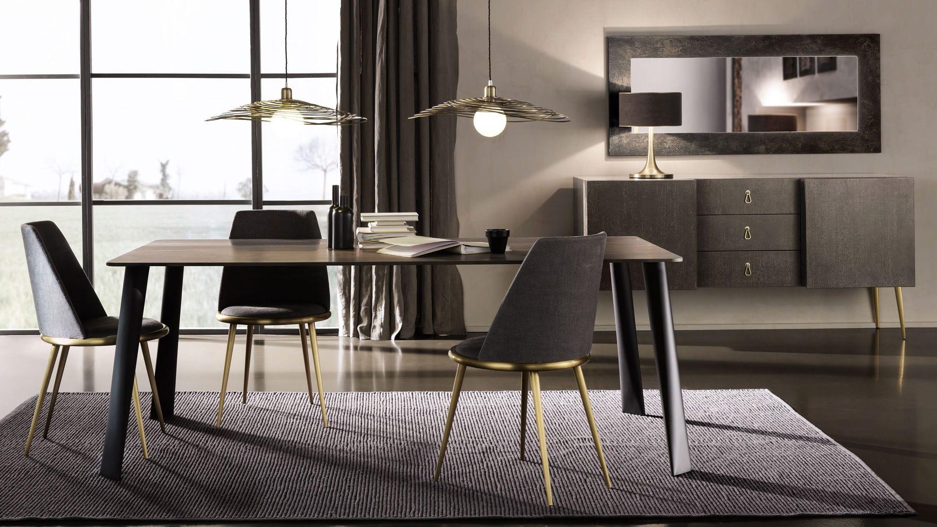 Tavolo Design Legno Ferro : Tavolo da pranzo moderno in legno laccato in acciaio in