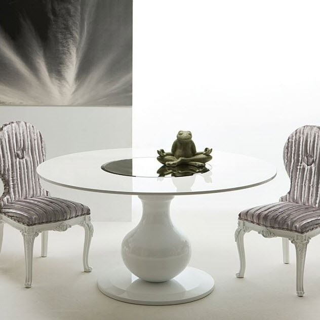 Tavolo da pranzo moderno / in legno laccato / rotondo / bianco ...