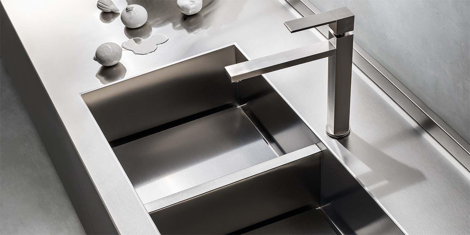 Lavello a 2 vasche / in acciaio inox - ONE - ERNESTOMEDA