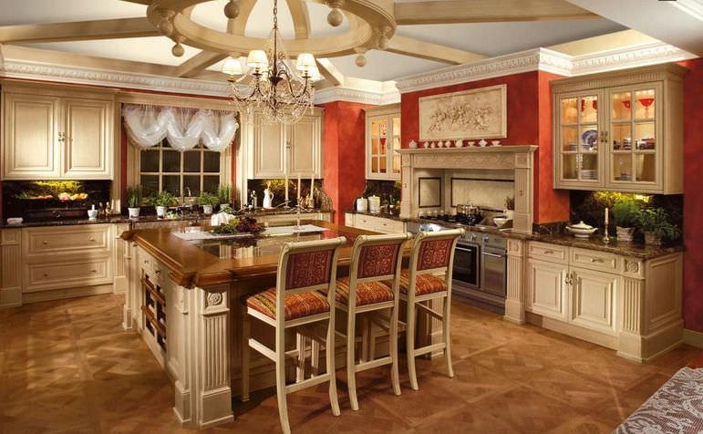 cucina classica in legno con isola laccata exclusive by franco scalco