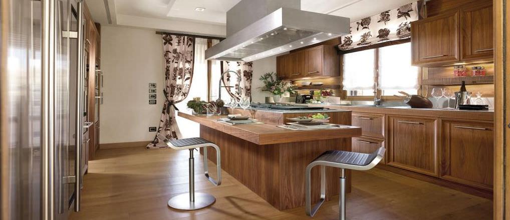 Cucina moderna / in acciaio inox / in legno massiccio / in legno ...
