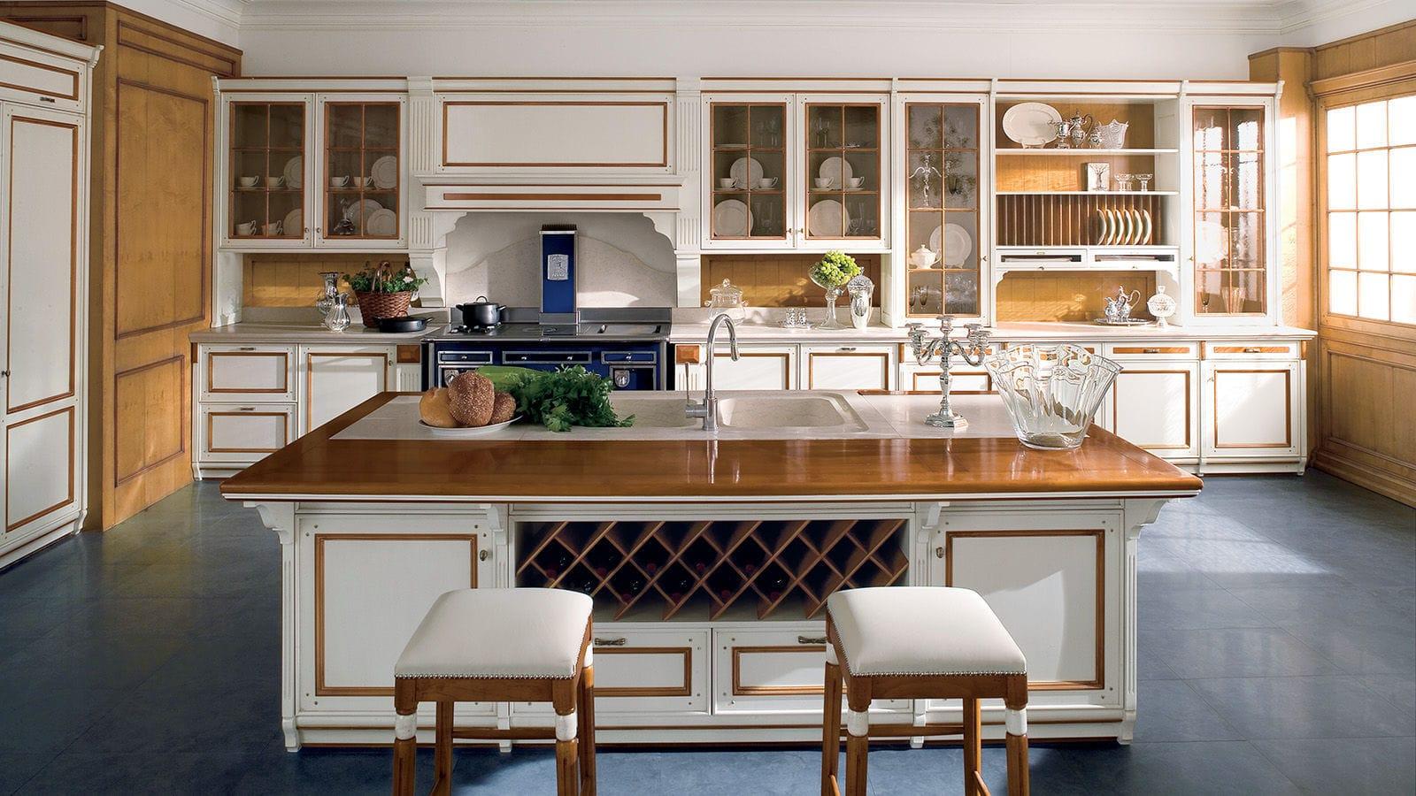 Credenza Con Cucina Incorporata : Cucina in stile legno laccato con isola impugnature