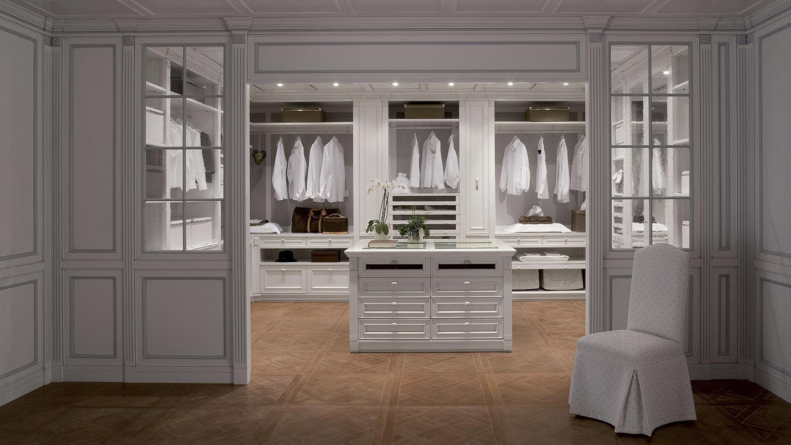 Credenza Con Cucina Incorporata : Cabina armadio ad angolo classica in legno laccato con