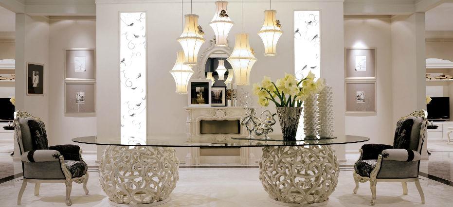 Tavolo design nuovo barocco / in vetro / ovale - MEDEA - GIUSTI PORTOS