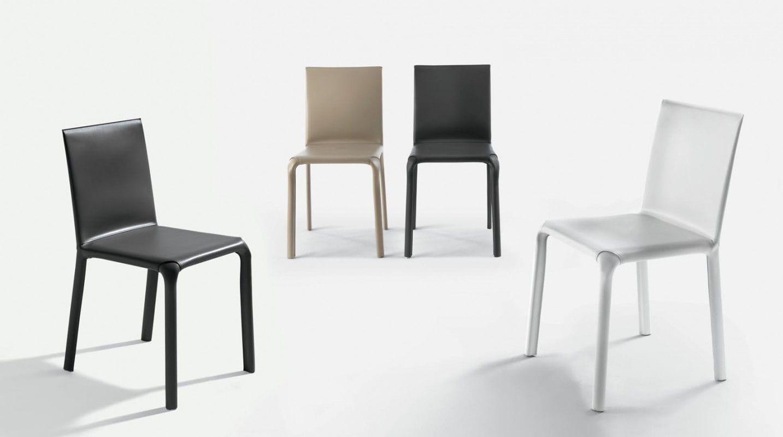 Sedia moderna imbottita in pelle in metallo alice