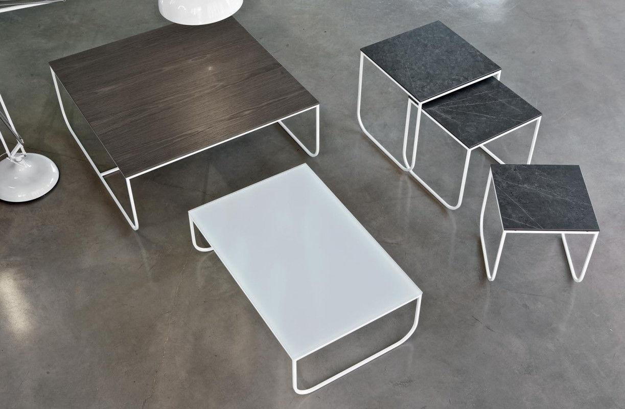 Tavolino basso moderno in vetro in marmo in calcestruzzo